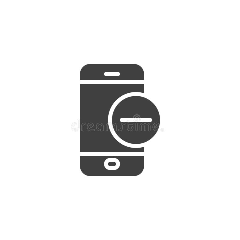 Mobile phone with minus sign vector icon. Filled flat sign for mobile concept and web design. Smartphone Remove Delete glyph icon. Symbol, logo illustration royalty free illustration