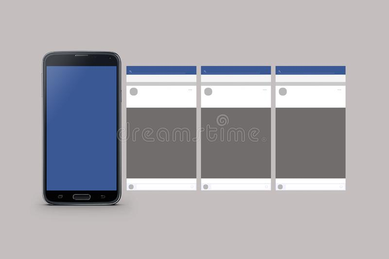 Mobile phone model isolated. On blue background vector illustration