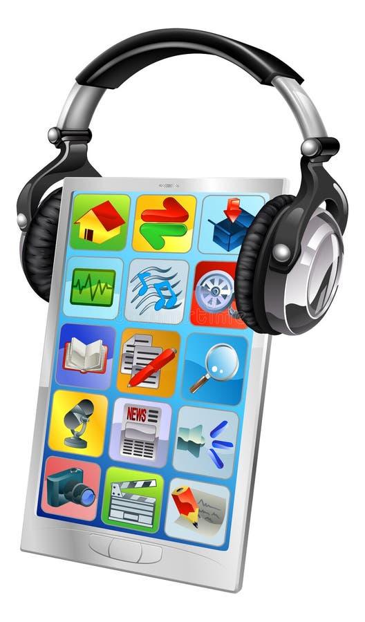 Download Mobile Phone Music Headphones Stock Vector - Illustration of equipment, graphic: 25208279