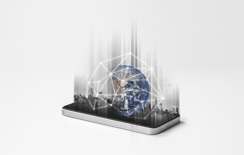 Mobile phone network, communication and global networking technology. Element of this image are furnished by NASA. Mobile phone network, communications and stock photography