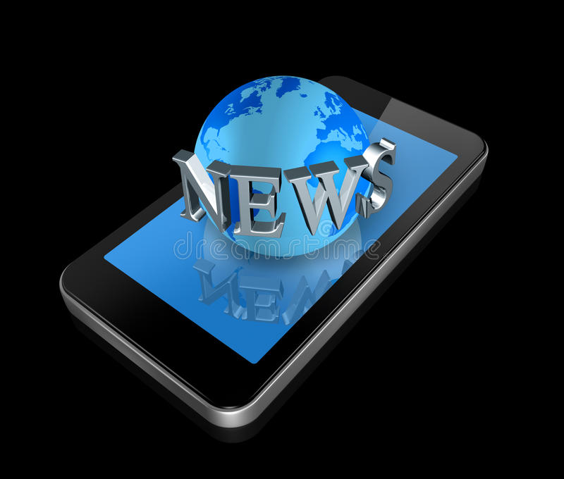 Download Mobile Phone And News World Globe Royalty Free Stock Photo - Image: 18167695