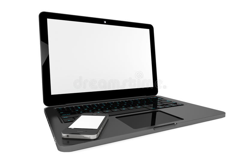 Mobile Phone over Laptop Computer stock photo