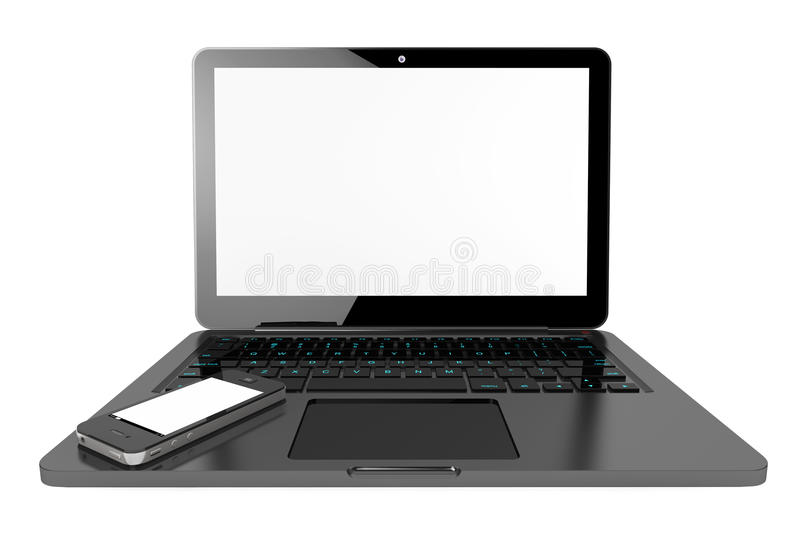 Mobile Phone over Laptop Computer stock photography
