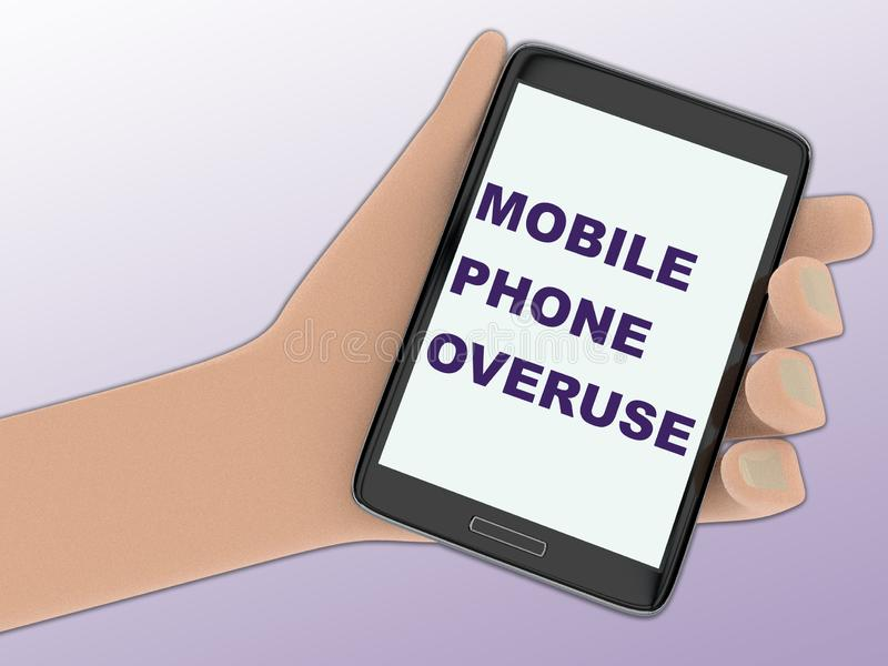 MOBILE PHONE OVERUSE concept royalty free illustration