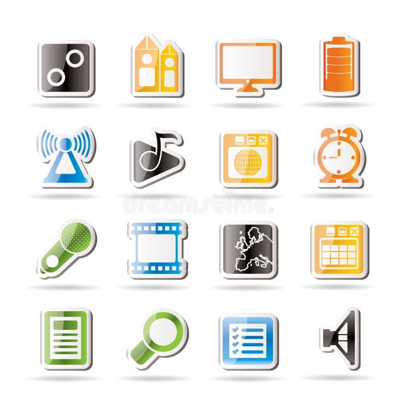 Mobile phone performance, internet icons. Mobile phone performance, internet and office icons - icon set stock illustration
