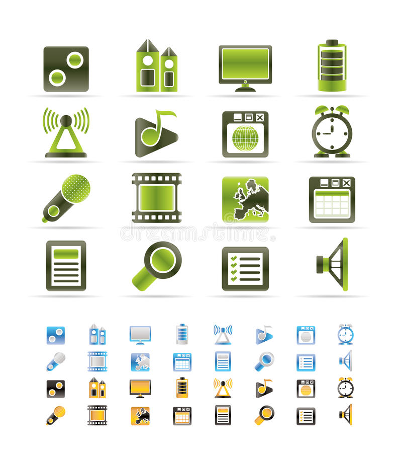 Mobile phone performance, internet and office icon. S - icon set - 3 colors included stock illustration