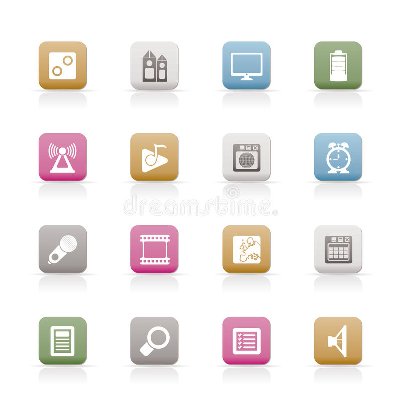 Mobile phone performance, internet and office icon. S - icon set stock illustration
