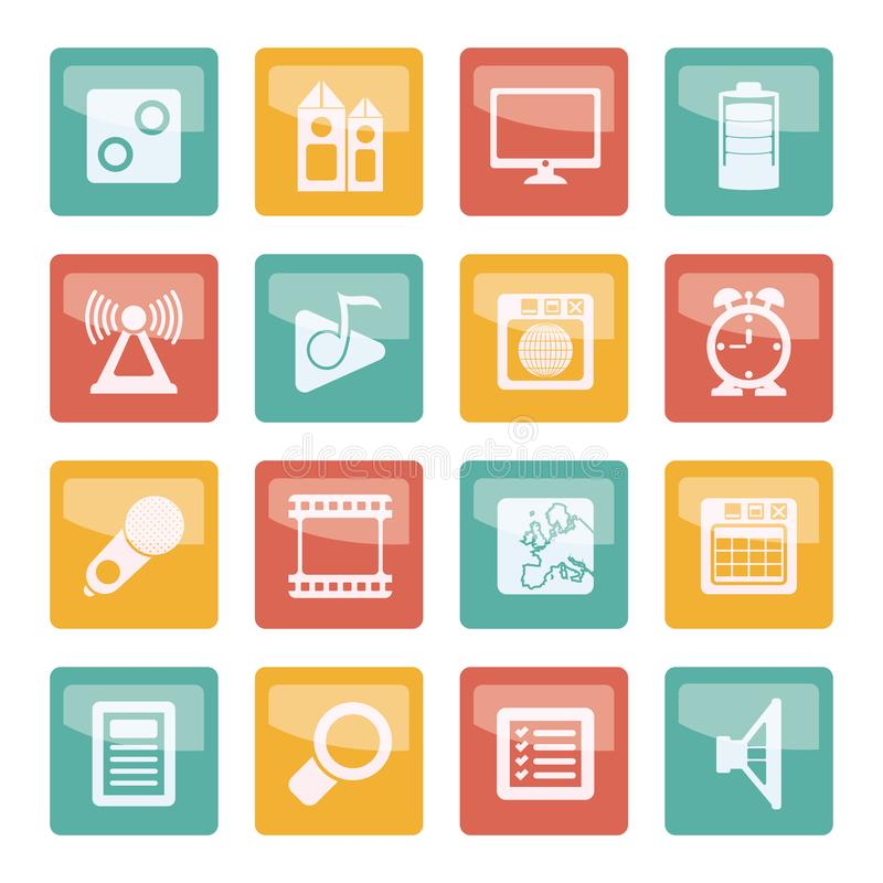 Mobile phone performance, internet and office icons over colored background. Vector icon set stock illustration