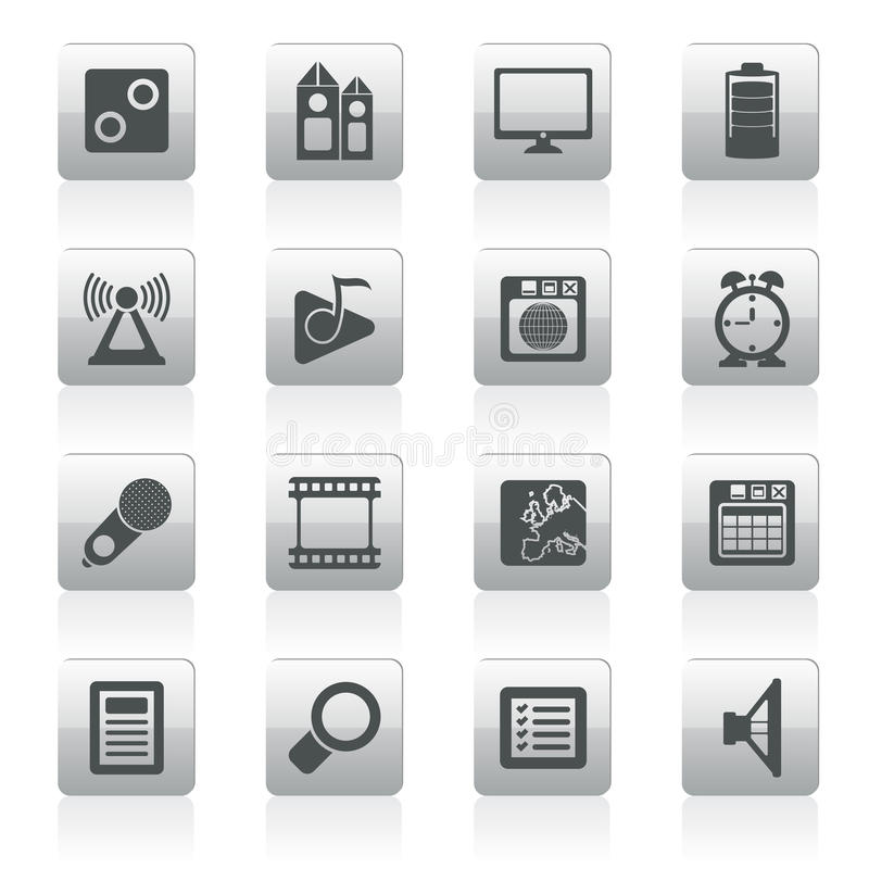 Mobile phone performance, internet and office icons. Vector icon set vector illustration