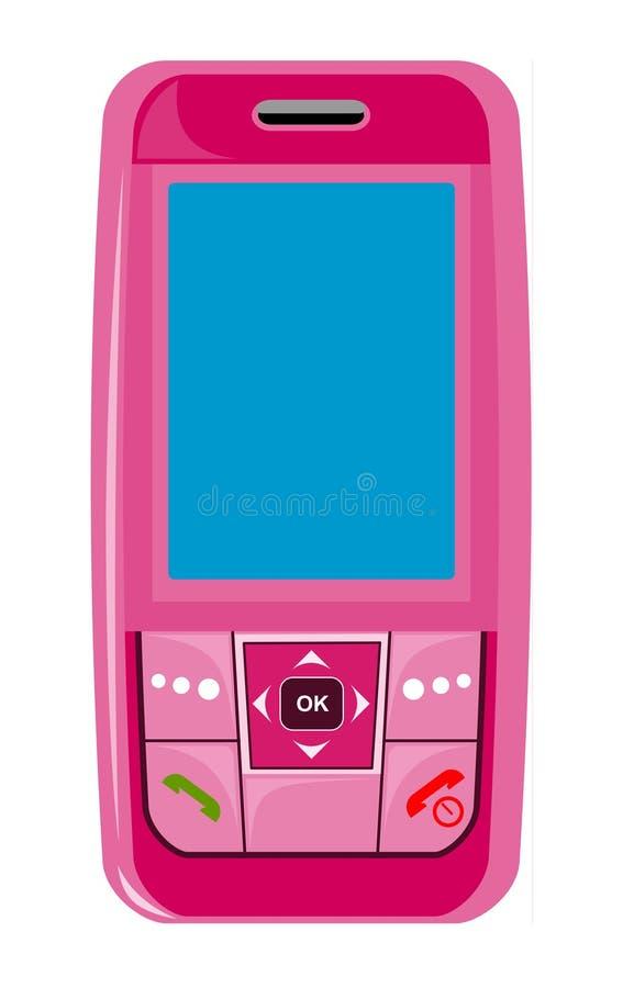 Mobile phone pink vector illustration