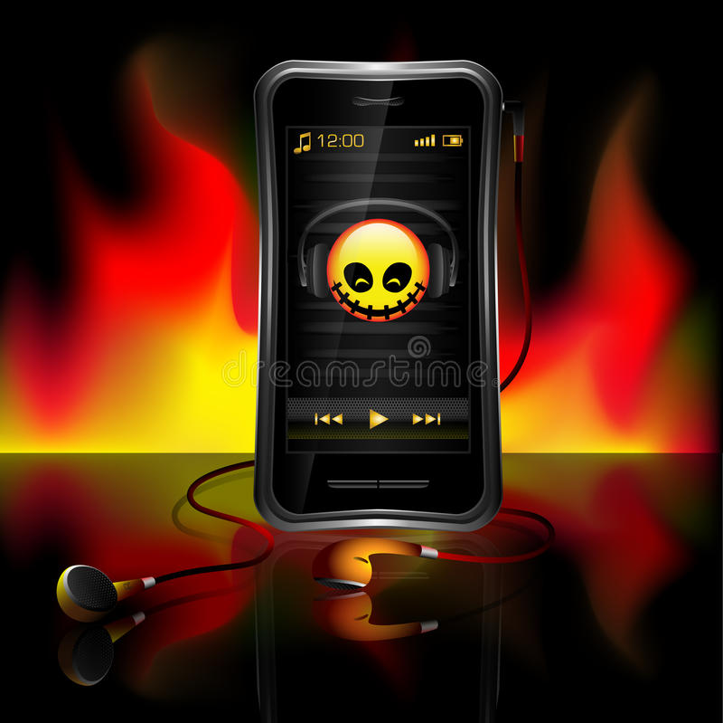 Mobile phone playing music vector illustration