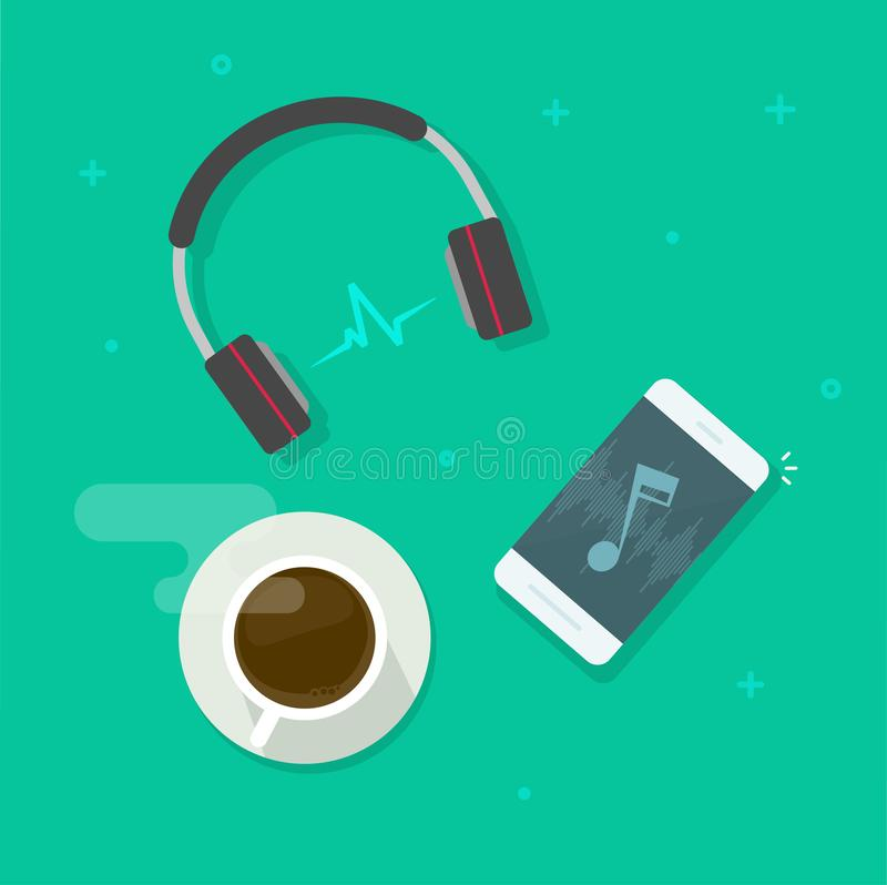 Mobile phone playing music via wireless headset vector illustration, musing or podcast listening via smartphone royalty free illustration