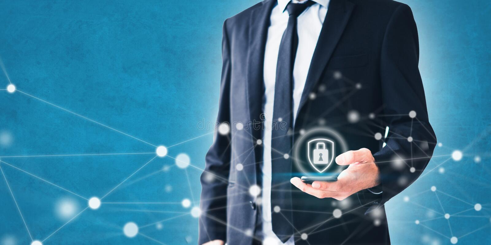 Mobile phone privacy concept -  businessman using smartphone with network illustration and security symbol royalty free stock images