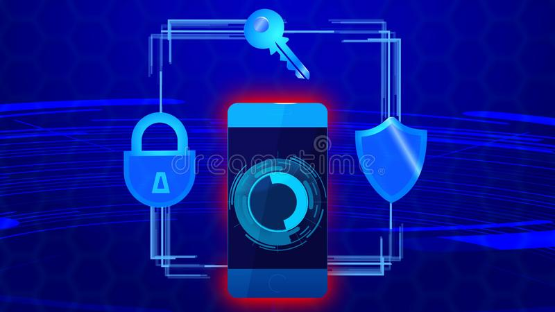 Mobile phone protection security, digital technology encrypted data protocol vector illustration
