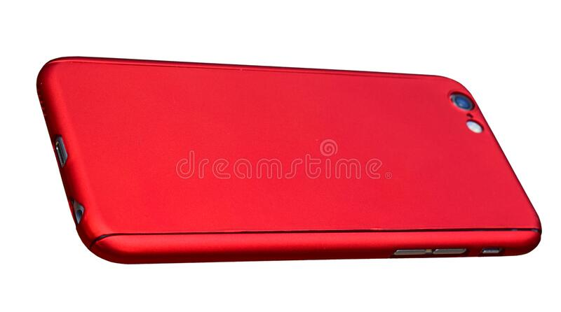 Mobile Phone In A Red Case Isolated With PNG File stock images