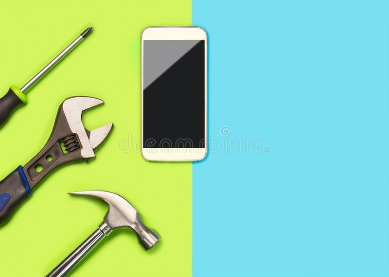 Mobile phone repair background or layout for smartphone fixing company. Banner with a lot of free blank copy space for text. Mobile phone repair background or stock photos