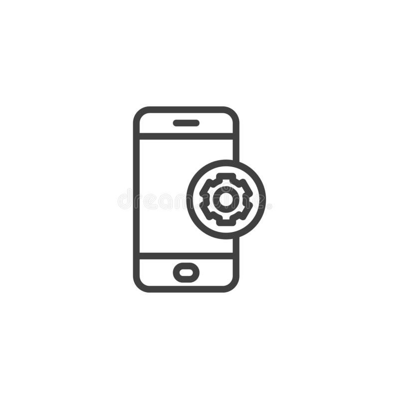 Mobile phone repair line icon. Linear style sign for mobile concept and web design. Smartphone settings gear outline vector icon. Symbol, logo illustration royalty free illustration