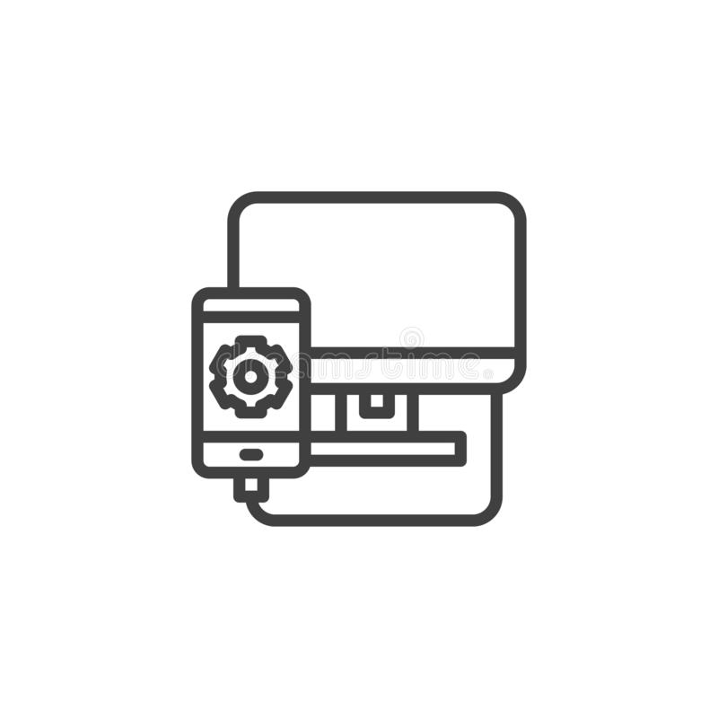 Mobile phone repair line icon. Linear style sign for mobile concept and web design. Smartphone connected by computer outline vector icon. Symbol, logo vector illustration