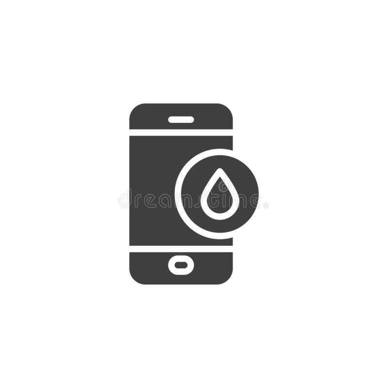 Mobile phone repair service vector icon. Filled flat sign for mobile concept and web design. Smartphone damaged by water glyph icon. Symbol, logo illustration stock illustration
