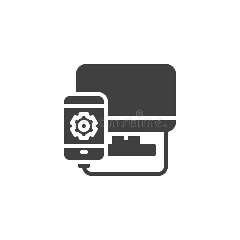 Mobile phone repair vector icon. Filled flat sign for mobile concept and web design. Smartphone connected by computer glyph icon. Symbol, logo illustration stock illustration