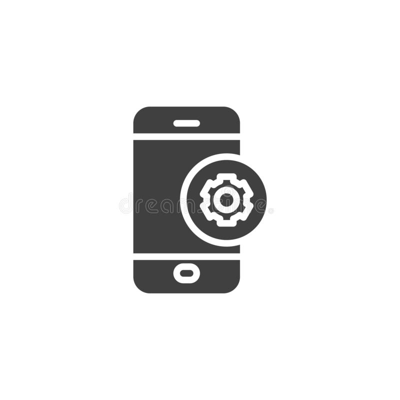 Mobile phone repair vector icon. Filled flat sign for mobile concept and web design. Smartphone settings gear glyph icon. Symbol, logo illustration. Vector vector illustration