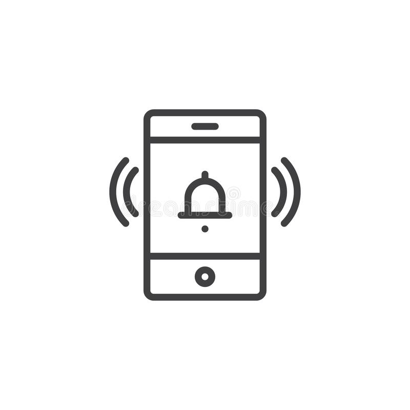 Mobile phone ringing outline icon royalty free illustration