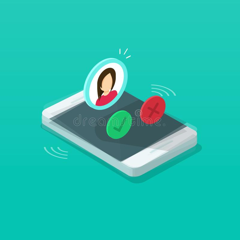 Free Mobile Phone Ringing Vector Illustration, Isometric Cartoon Cellphone Call Or Vibrate With Contact Info On Display Royalty Free Stock Photos - 130933168
