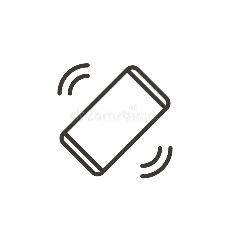 Mobile phone ringing or vibrating receiving a call or message. Vector thin line icon of a smartphone, royalty free illustration