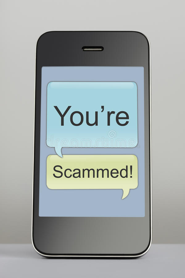 Mobile phone with scam message speech bubble royalty free stock images