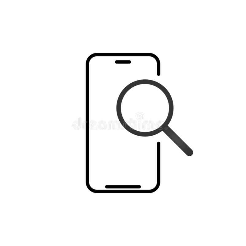 Mobile phone search outline icon. linear style sign for mobile concept and web design. Smartphone and magnifying glass simple line stock illustration