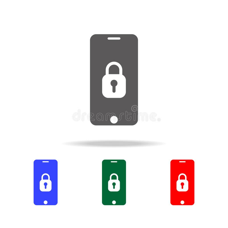 Mobile phone security icon. Elements of cyber security multi colored icons. Premium quality graphic design icon. Simple icon for w stock illustration