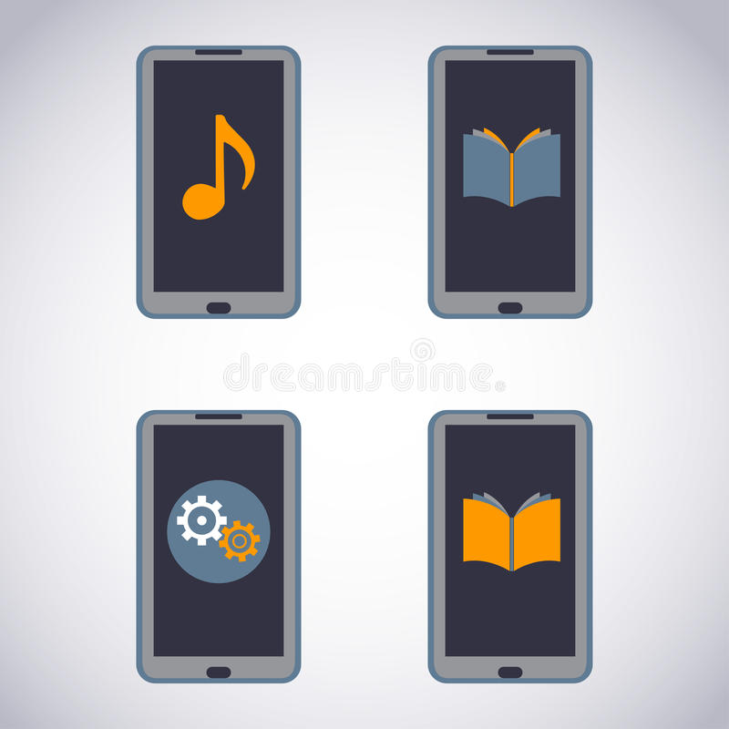 Mobile phone set. Touchscreen Smart Phone with Media Application (apps, music, ebooks). royalty free illustration