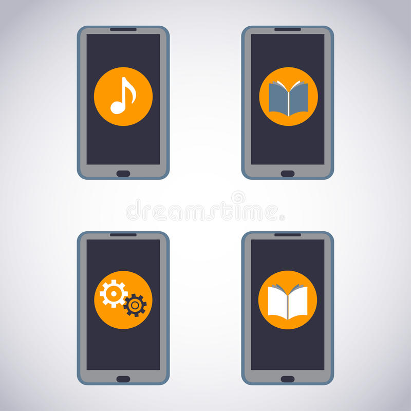 Mobile phone set. Touchscreen Smart Phone with Media Application (apps, music, ebooks). stock illustration