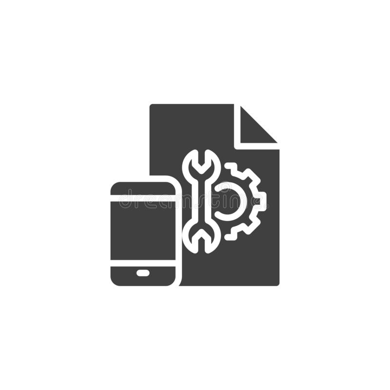 Mobile phone settings instruction vector icon. Filled flat sign for mobile concept and web design. Smartphone configuration file glyph icon. Symbol, logo stock illustration