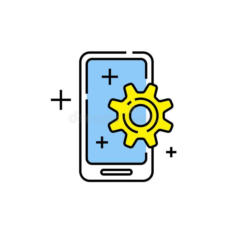 Mobile phone settings line icon vector illustration