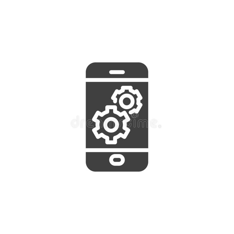 Mobile phone settings vector icon. Filled flat sign for mobile concept and web design. Smartphone screen with gear glyph icon. Symbol, logo illustration vector illustration