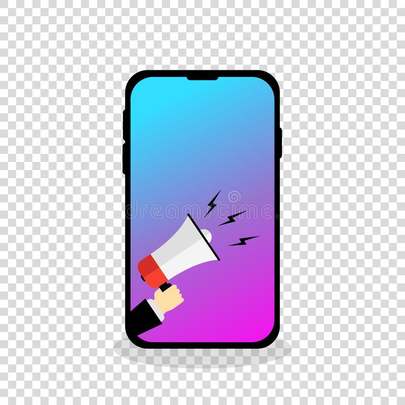 Mobile phone showing hand with megaphone anouncing stock illustration