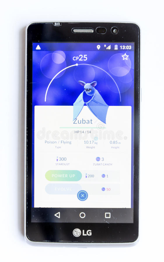 A mobile phone showing on screen Pokemon Go augmented reality mo stock photography