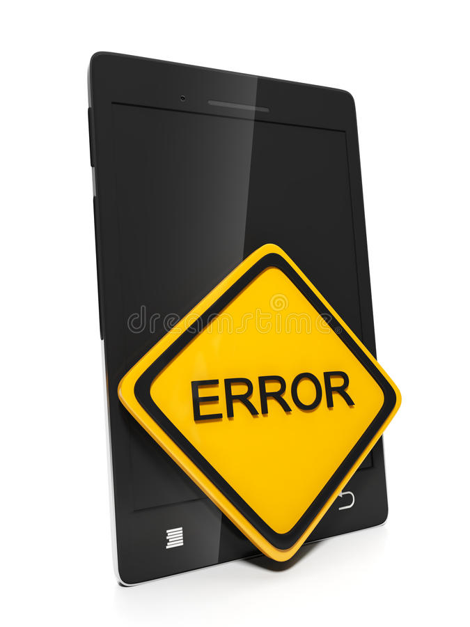 Mobile Phone With A Sign Error Royalty Free Stock Photos