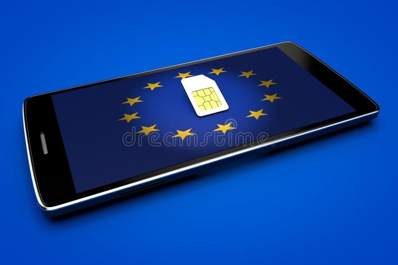 Mobile Phone and sim card, abolition of roaming in the European Union. Europe flag vector illustration