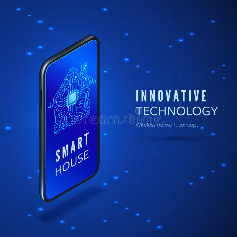 Mobile phone with smart house interface application. Circuit building silhouette on smartphone screen isometric banner. Vector royalty free illustration