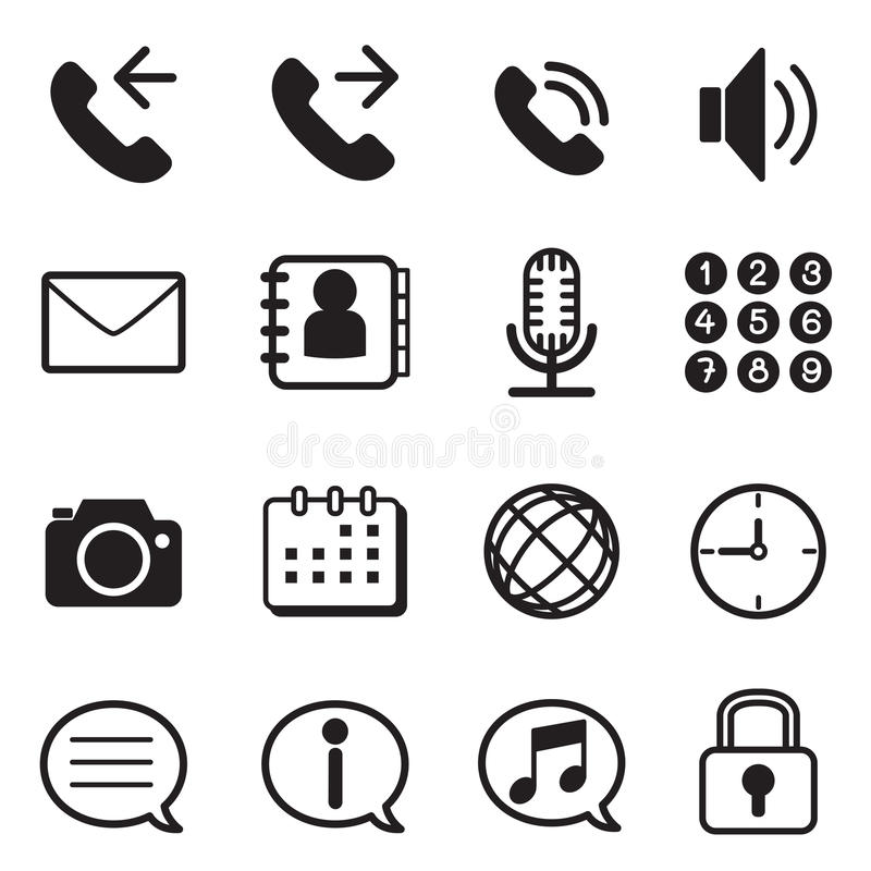 Mobile phone & smartphone application icons set vector illustration