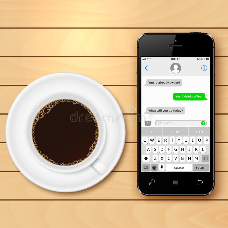 Mobile phone with sms chat on screen and coffee cup on wooden table stock illustration