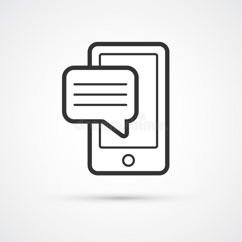 Mobile phone sms flat line trendy black icon. Vector eps10 royalty free illustration