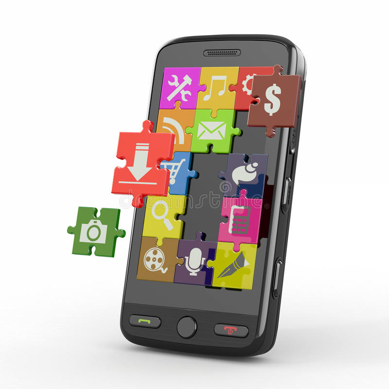 Mobile phone software. Screen from puzzle. stock illustration