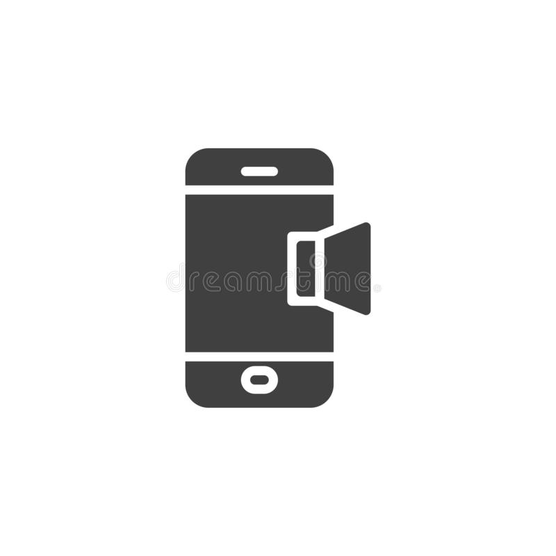 Mobile phone sound notification vector icon. Filled flat sign for mobile concept and web design. Smartphone volume tone glyph icon. Symbol, logo illustration stock illustration