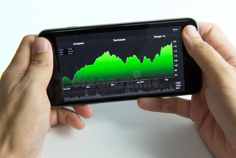 Mobile phone with stock chart stock photos