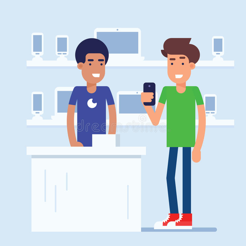 The mobile phone store royalty free illustration