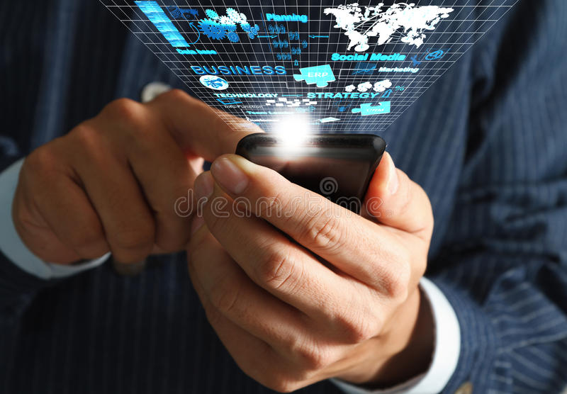 Mobile phone streaming. Business man hand use mobile phone streaming virtual business network process diagram