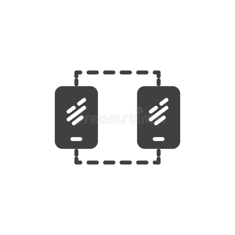 Mobile phone sync connection vector icon royalty free illustration